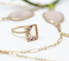 Jennifer Dawes 18k rose gold morganite ring and rose quarts necklace