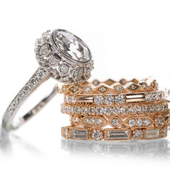 Sethi Couture 18k gold engagement ring and stacking wedding bands