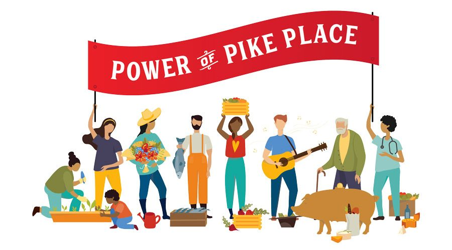 """people buying local and gathering as a community with text, """"Power of Pike Place"""""""