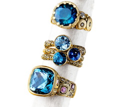Alex Sepkus Blue Sapphire and Topaz center stone Rings