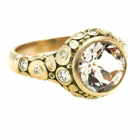 ALex Sepkus 18k yellow gold ring with old European cut diamond center.