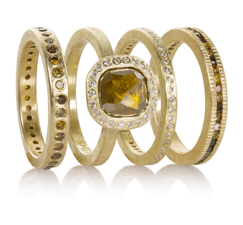 Todd Reed 18k yellow gold engagement ring and wedding bands with natural color diamonds