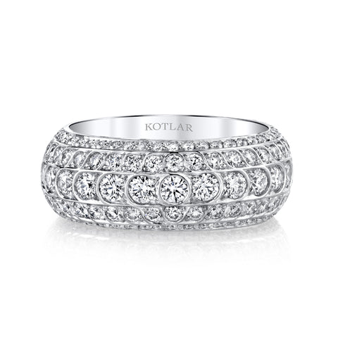 Wide diamond white gold band