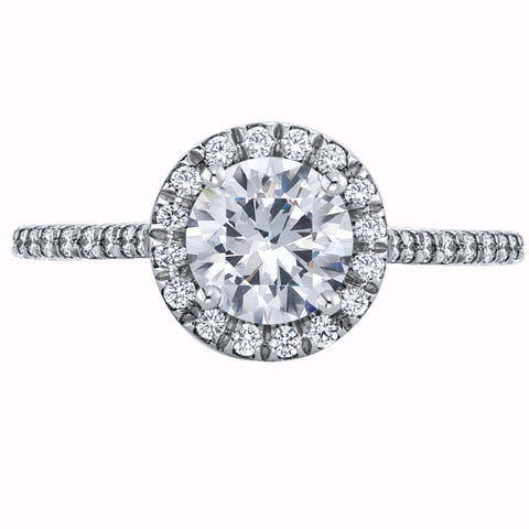 white gold engagement ring with a diamond halo and diamonds down the shank.