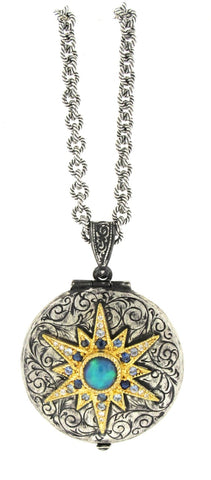 Arman sterling silver and 18K yellow gold locket with opal cabochon
