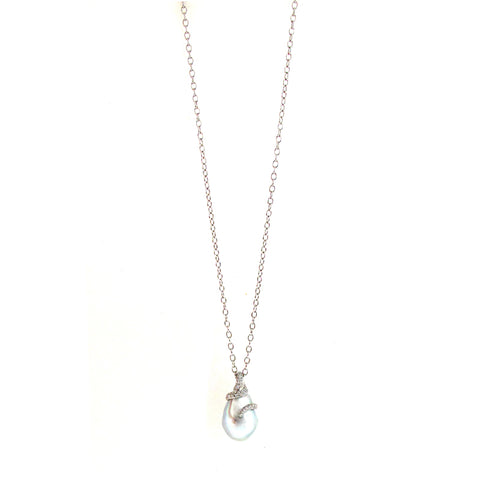 Mikimoto south sea baroque pearl pendant on a long chain
