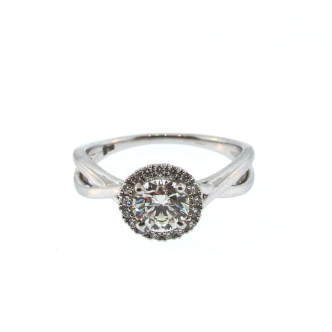 Norman Silverman Diamond and 18K White Gold Halo Ring