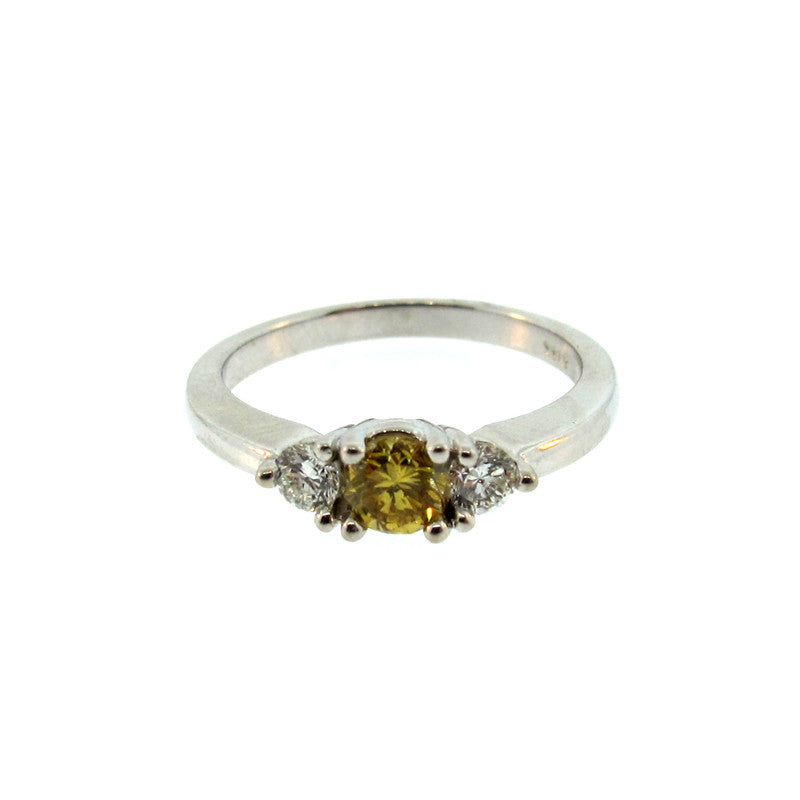 Three Stone Fancy Yellow Diamond, Diamond and 14 Karat White Gold Ring