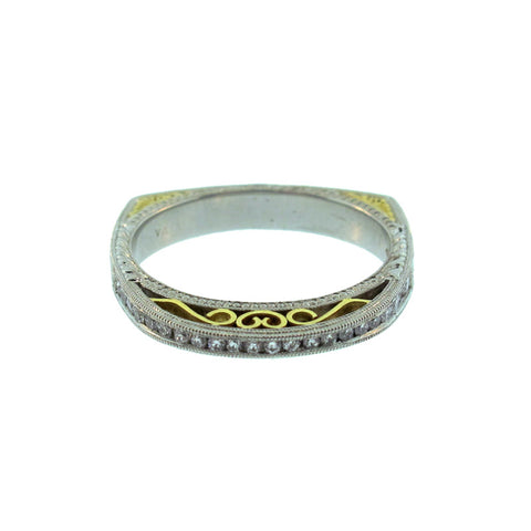 Varna Diamond Platinum and 18K Yellow Gold Vintage Style Band