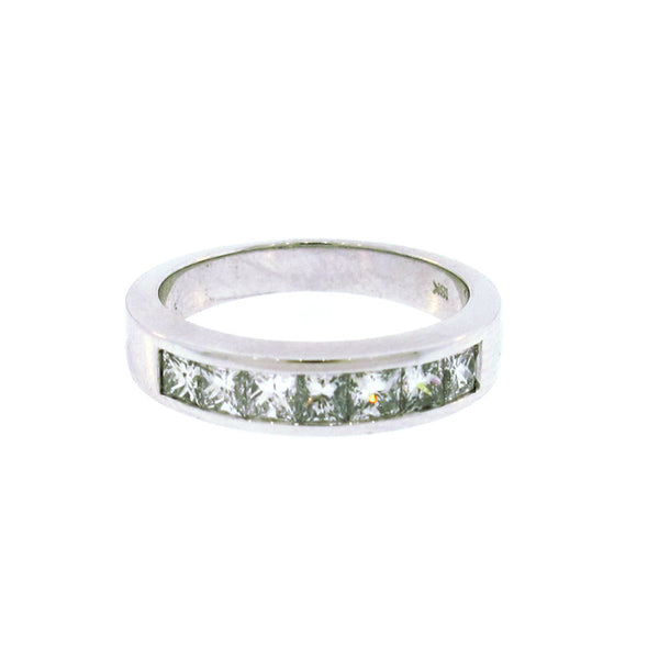 Princess Cut Diamond and 18K White Gold Channel Set Band ring