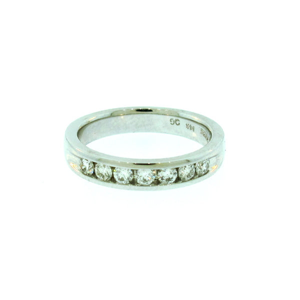 Diamond and 14K White Gold Channel Set Band