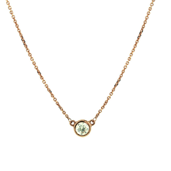 Diamond and 14 Karat Rose Gold Solitaire Pendant