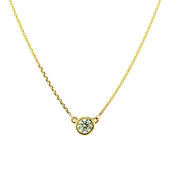 Yellow gold chain with large diamond pendant