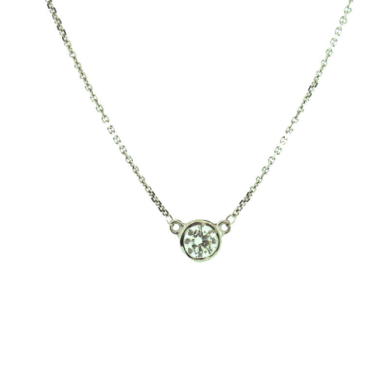 Diamond and 14 Karat White Gold Solitaire Pendant