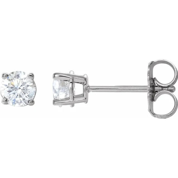 Round brilliant cut diamond stud earrings in 14K white gold 0.68 carat total