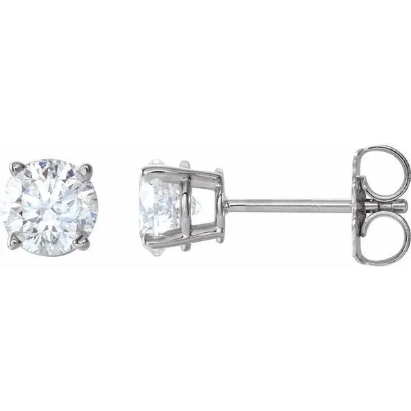 Round brilliant cut diamond stud earrings in 14K white gold 1.01 carat total