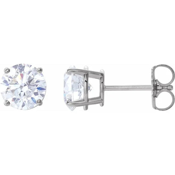 Round brilliant cut diamond stud earrings in 14K white gold 2 carat total