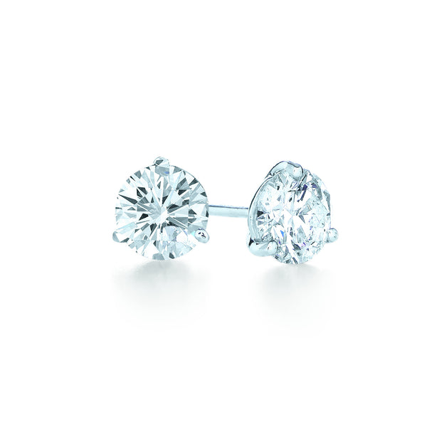 Kwiat Diamond and Platinum Stud Earrings 1.28 carats