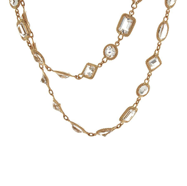 18K Rose Gold and Mixed Cut White Topaz Station Necklace