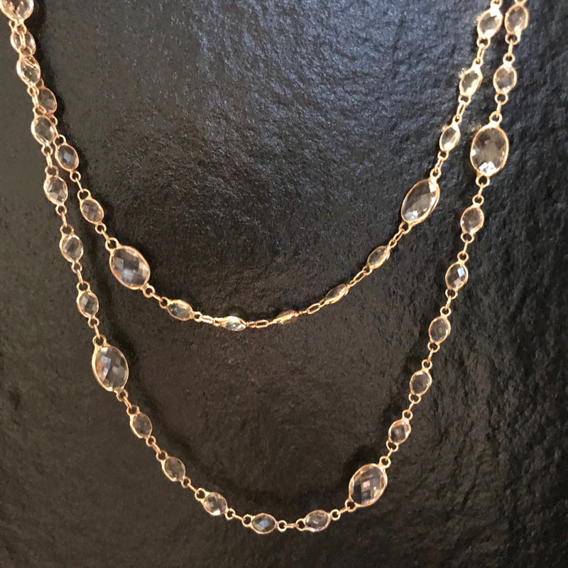 18K Rose Gold and Oval Cut White Topaz Station Necklace