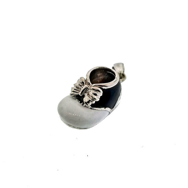18K white gold baby bootie charm with black and white enamel