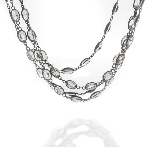 18K White Gold Black Rhodium and White Topaz Necklace