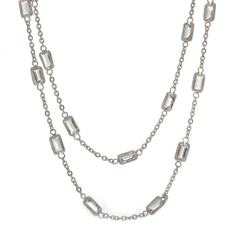 18K White Gold and Emerald Cut White Topaz Station Necklace