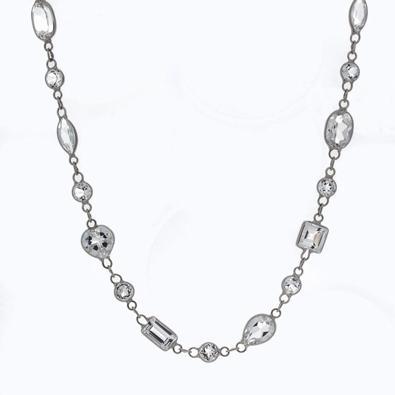 18K White Gold and Mixed Cut White Topaz Station Necklace
