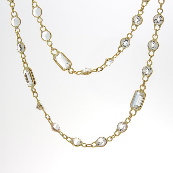 18K Yellow Gold and Mixed Cut White Topaz Station Necklace
