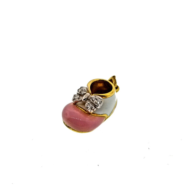 18K yellow gold and diamond baby bootie charm with pink and white enamel