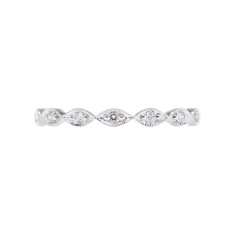 delicate eternity band with diamond marquis pattern, beautiful eternity band design