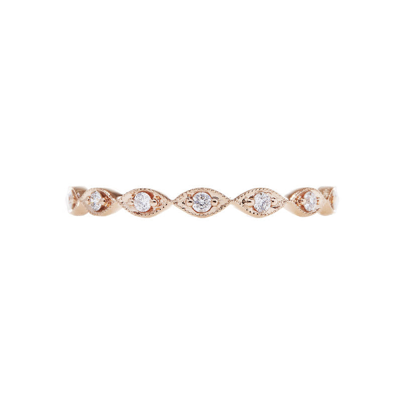 18K rose gold marquise shape eternity ring with round diamonds