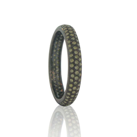 Sethi Couture Fancy Green Diamond and Black Rhodium Finished 18K White Gold Pave Tire Band