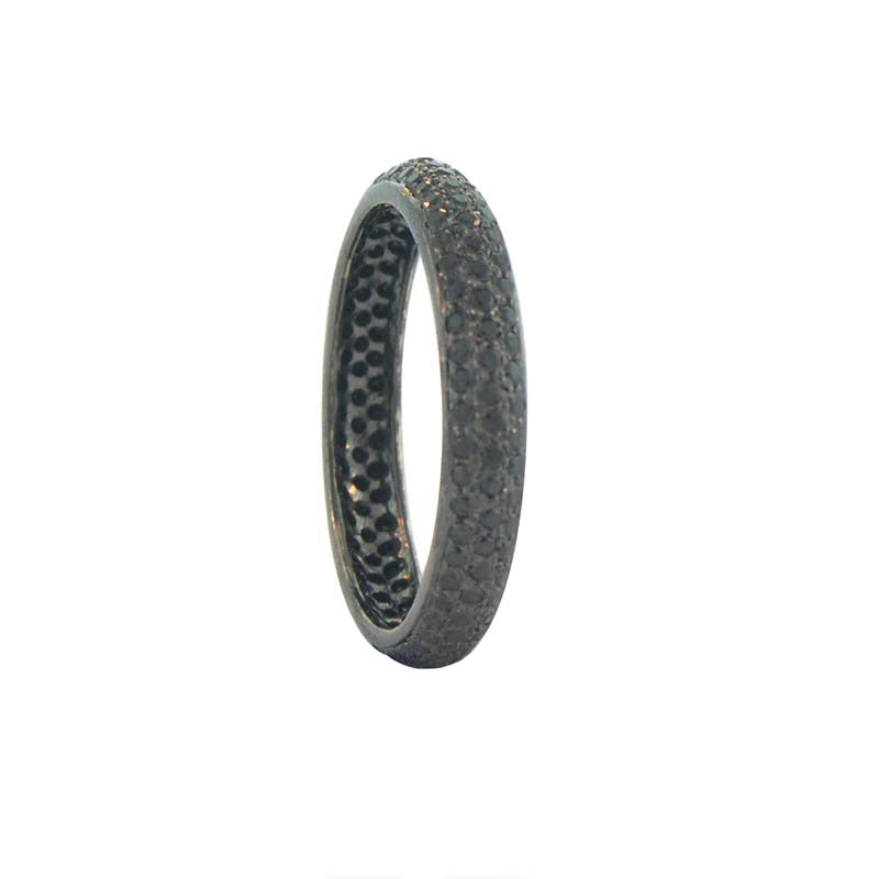 Sethi Couture Black Diamond and Black Rhodium 18K White Gold Pave Tire Band