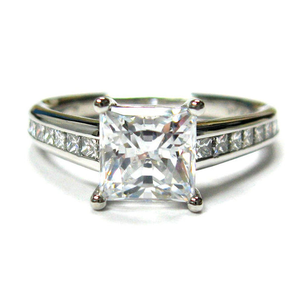 Mark Patterson Diamond and Platinum Princess Cut Mounted engagement ring