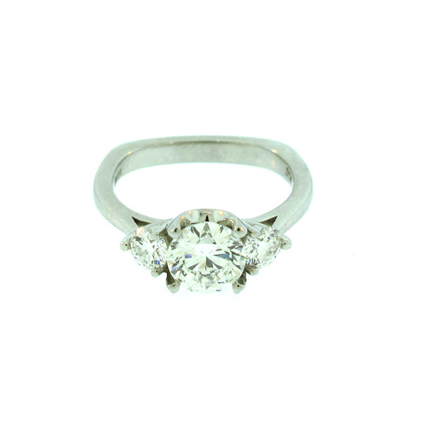 Diamond and Platinum Three Stone Ring with three diamonds