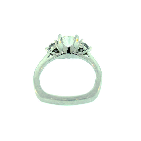 Diamond and Platinum Three Stone Ring from side