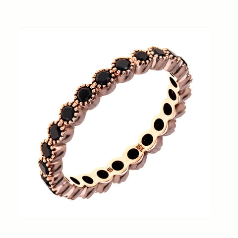 Sethi Couture Black Diamond and 18K Rose Gold Band