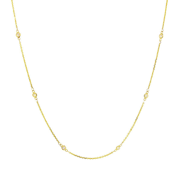 yellow gold Diamonds By The Yard necklace with tiny diamonds