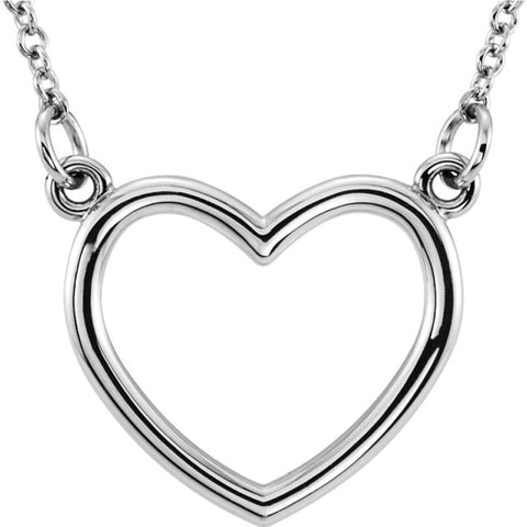 Open Heart 14 Karat White Gold Necklace