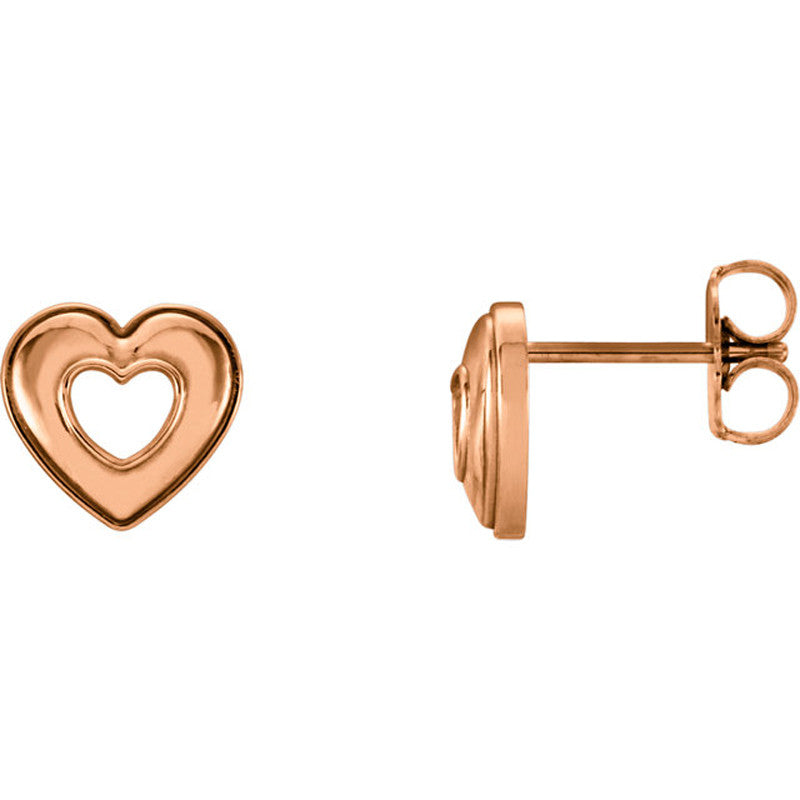 Open Heart 14 Karat Rose Gold Earrings