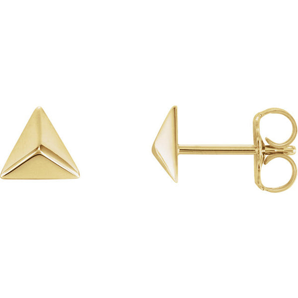 Pyramid Style 14 Karat Yellow Gold Earrings