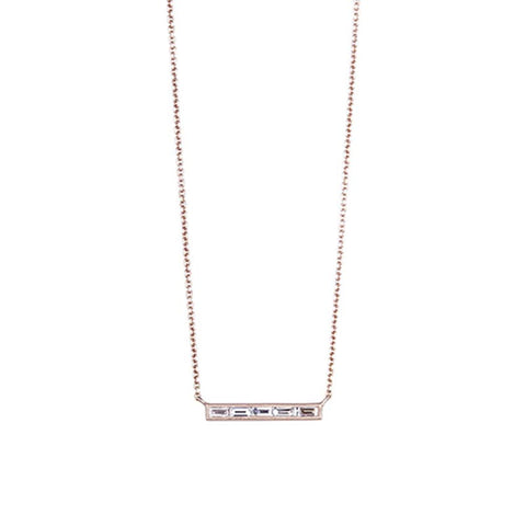 Sethi Couture Diamond and 18K Rose Gold Bar Necklace