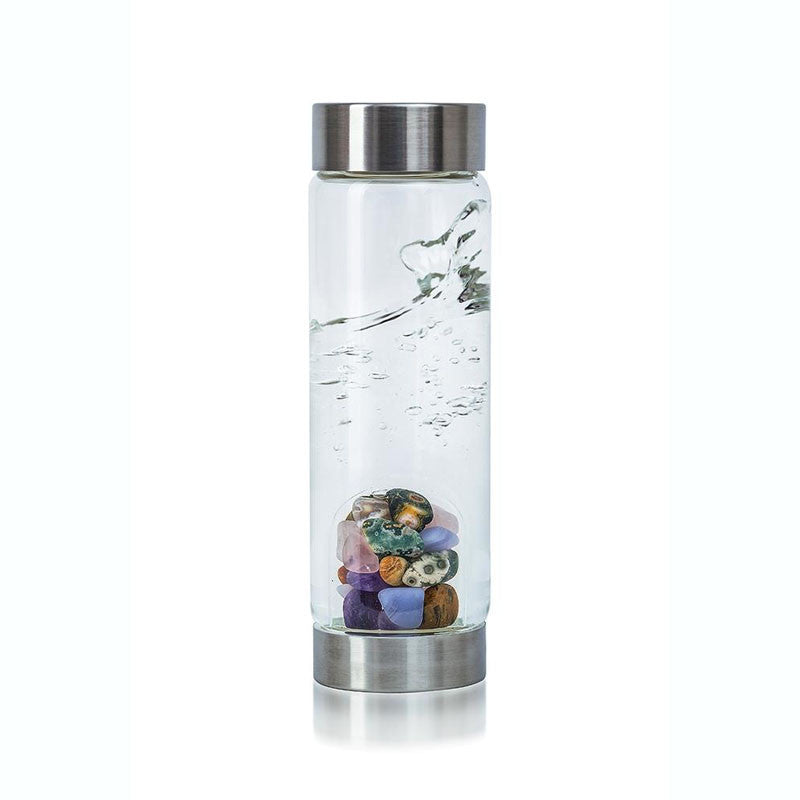 Five Elements Gem Water Bottle with amethyst, chalcedony, petrified wood, rose quartz, and ocean chalcedony
