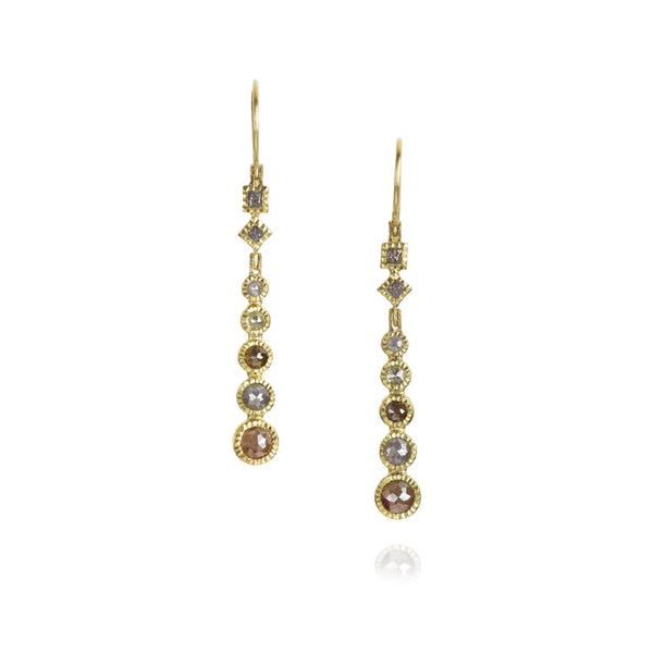 Todd Reed diamond dangle earrings with rose cut diamonds and raw diamond cubes set in 18k gold