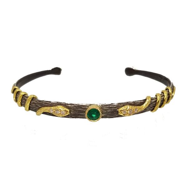 Arman Sarkisyan Emerald and Diamond Snake Cuff Bracelet