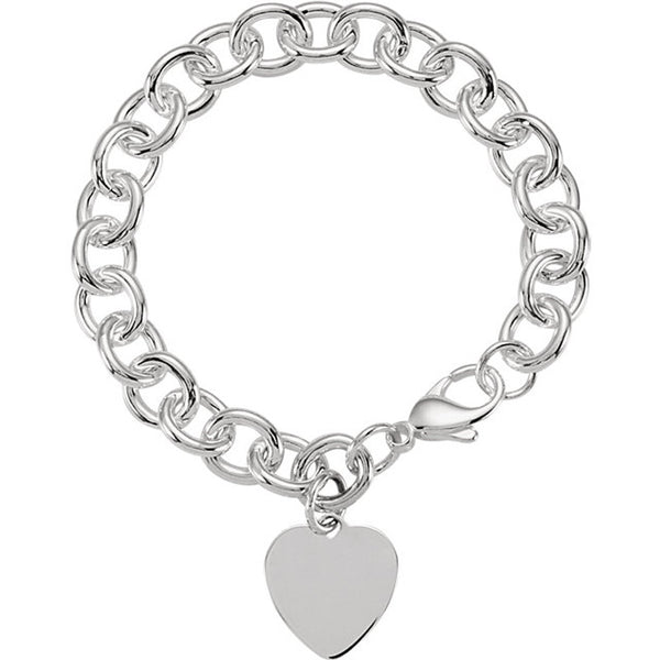 Sterling Silver Charm Bracelet with Heart Charm