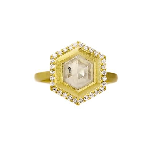 one of a kind Samantha Louise ring with hexagonal diamond and diamonds bordering hexagonal rim