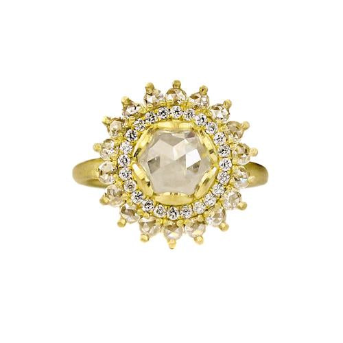 Samantha Louise double rose halo ring with sun-like symbology, different size diamonds in concentric circles