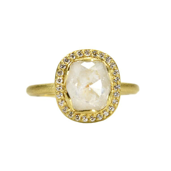 one-of-a-kind Samantha Louise ring with hexagon diamond and oval setting with pave diamonds